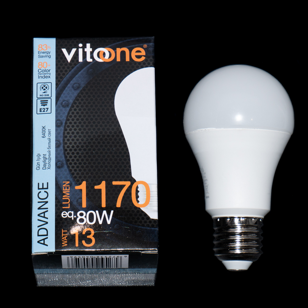 Лампа LED VITOONE ADVANCE A60 13W E27 6400K 1517110