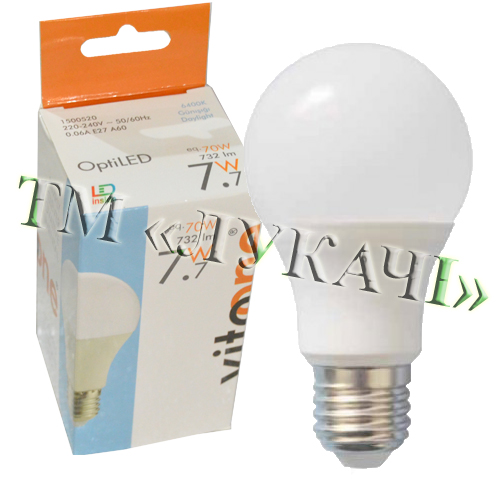 Лампа LED VITOONE A60 7,7W E27 6400K Optiled 1500520 / 1500522